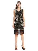 Load image into Gallery viewer, Black Gold 1920s V Neck Sequined Fringed Flapper Dress