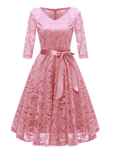 Load image into Gallery viewer, V Neck Soild Color Long Sleeve Bow Lace A line Vintage Dress
