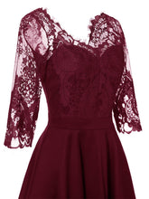 Load image into Gallery viewer, Autumn Long Sleeve V Neck Lace Dress