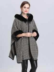 Faux Fur Coat Wool Cape Coat Hooded Long Sleeve Women Gingham Overcoat