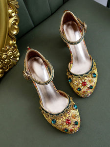 Luxurious Rhinestone Embroidery Floral Block Heel Ankle Strap Vintage Shoes