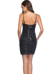 Sequin Spaghetti Strap Bodycon Mini Dress