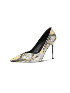 9.5CM High Heel Pointed Toe Snake Print Sheep Skin Leather Shoes