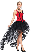 Load image into Gallery viewer, Halloween Costume Gothic Red Vintage Corset Top High Low Skirt For Women