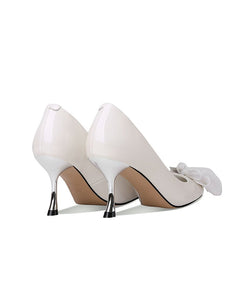 Bow Flower 7CM High Heel  Pointed Toe Leather Shoes