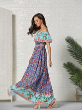Load image into Gallery viewer, Women's Boho Dress Off Shoulder Split Floral Printed Maxi Dress