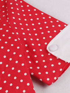 With Pockets Turn Collar Polka Dot 50s 60s Fapper Dress
