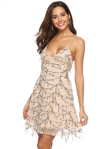 Sequin Spaghetti Strap Cross Back Party Prom Dress