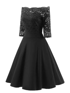 Off the Shoulder Half Sleeve Lace 50s Dress
