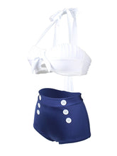 Load image into Gallery viewer,   Halter Backless Bow High Wasited Retro Style Two Pieces Swimwear