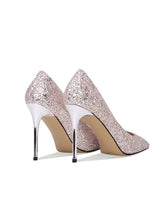 Load image into Gallery viewer, Silver Glitter 9.5CM High Heel Pointed Toe Leather Shoes