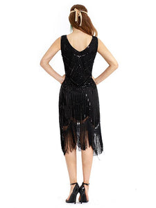 Apricot 1920s Crew Neck Sequined Fringed Flapper Dress