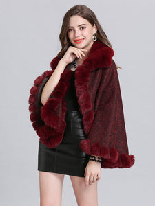 Poncho Knitwear Women Oversized Sweater Faux Fur Coat Shawl Collar Sweaters