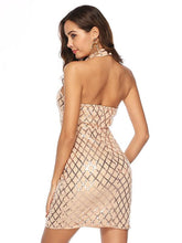 Load image into Gallery viewer,  Standing Collar Mesh Backless Bobycon Evening Dress