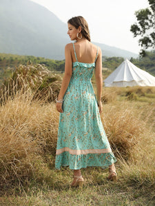 Boho Dress Spaghetti Strap Floral Printed Ruffles Maxi Dress For Women