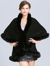 Load image into Gallery viewer, Faux Fur Coat Women Plaid Poncho Long Sleeve Batwing Oversized Cape Coat
