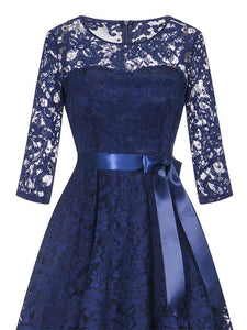 Lace O Neck 3/4 Length Sleeve High Low Hem Vintage Dress