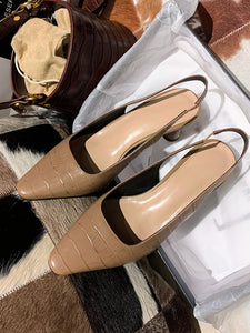 Women's Heels High Heel Pointed Toe Cowhide Leather Shoes