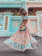 Load image into Gallery viewer, Women's Summer Boho Dress Floral Printed V Elastic Band Collar Beach Maxi Dress