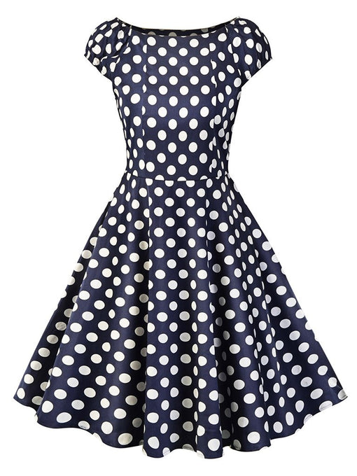 Sweet Consice A Line Solid Color Dots Vintage Dress