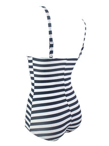 One Piece Cross Front Design Striated Solid Background Retro Swimwear