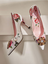 Load image into Gallery viewer, Rose Print Rhinestone Stiletto Heel Vinatge Shoes