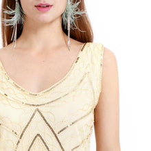 Load image into Gallery viewer, Apricot 1920s Crew Neck Sequined Fringed Flapper Dress