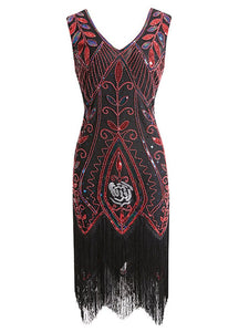 1920s Floral Sequined Fringe Flapper Dress