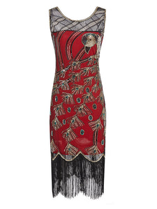 4 Colors 1920s Sequined Peacock Flapper Dress