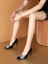 Load image into Gallery viewer, Bow 8CM High Heel Pointed Toe Leather Shoes