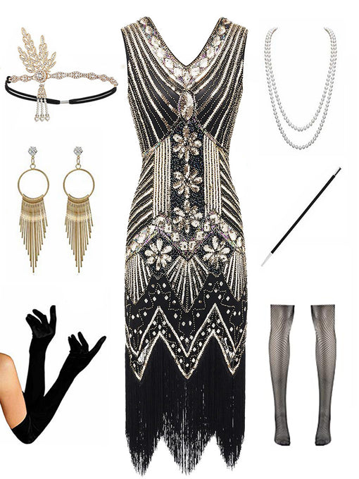 1920s  Sequined Fringed Gatsby Flapper Dress Set
