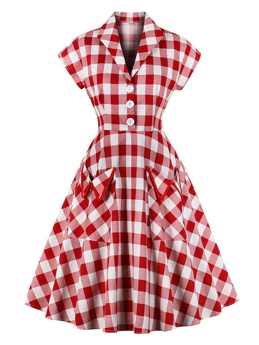 Red White 1950s Pockets Plaid Dress