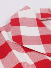 Load image into Gallery viewer, Red White 1950s Pockets Plaid Dress