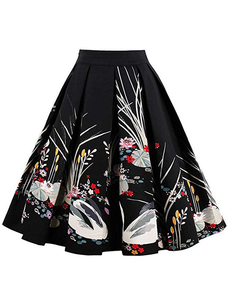 1950S Flower Print High Wasit Swan Pleated Swing Skirt