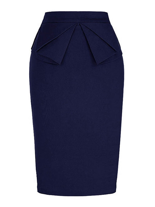 1950S Ruffles High Wasit Bodycon Retro Skirt