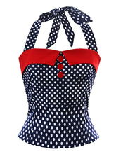 Load image into Gallery viewer, 1950S Black Dots Halter Crop Tops