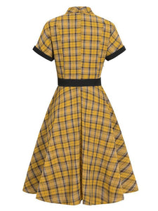1950S Yellow Plaid  Vintage Dress With Belt