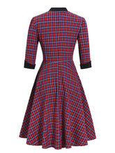 Load image into Gallery viewer, 1950S Plaid 3/4 Sleeve Vintage Dress