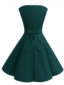 1950S Green V Neck Sleeveless Vintage Dress