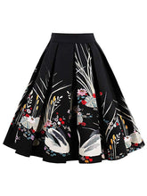 Load image into Gallery viewer, 1950S Flower Print High Wasit Swan Pleated Swing Skirt