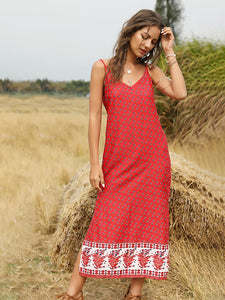 Women's Boho Dress Floral Printed Spaghetti Strap Beach Dress Maxi Dress
