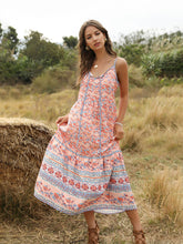 Load image into Gallery viewer, Boho Dress Spaghetti Strap Floral Printed Full Length Beach Dress For Women