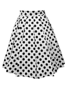 1950S Polka Dots High Wasit Pleated Swing Skirt