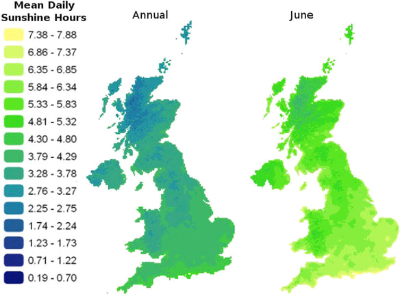 Map detailing the daily hours of sunshine available across the UK (annual average and in July).