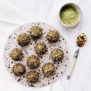 Matcha, Pistachio and Fig Energy Bites