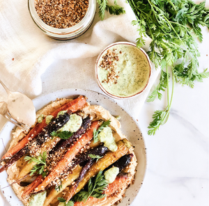 Dukkah Roasted Carrots with Tahini Hommus and Salsa Verde
