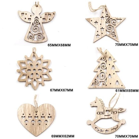 Christmas Snowflakes Wooden Pendants Ornaments