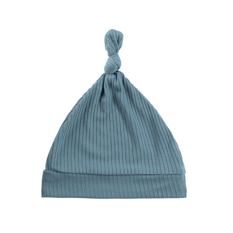 Azure Ribbed Knot Hat