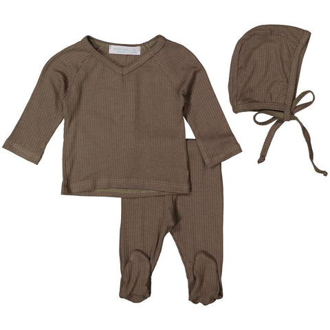 Mocha Gray Silky Soft Ribbed V- Neck Set W/ Feet + Bonnet