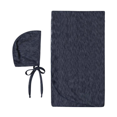 Navy Bonnet And Swaddle Set